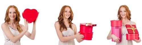 有在白色隔绝的giftbox的少妇 免版税图库摄影