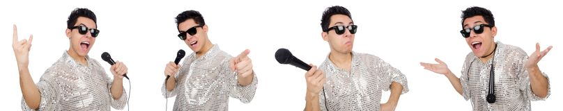 有在白色隔绝的mic的人 免版税库存照片