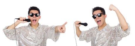 有在白色隔绝的mic的人 免版税库存图片