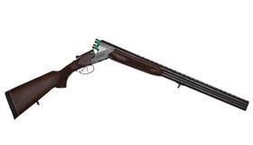有在白色隔绝的两个绿色弹药筒的被打开的双桶的狩猎枪 免版税图库摄影