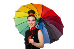 有在白色隔绝的五颜六色的伞的妇女 库存图片