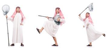 有在白色隔绝的传染性的网的阿拉伯人 免版税图库摄影