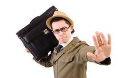 有在白色隔绝的公文包的年轻人 库存图片