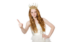 有在白色隔绝的冠的妇女 图库摄影