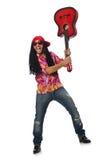 有在白色隔绝的吉他的男性音乐家 免版税图库摄影
