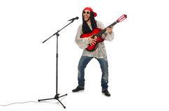 有在白色隔绝的吉他的男性音乐家 免版税库存图片