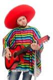 有在白色隔绝的吉他的滑稽的墨西哥人 库存图片