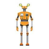 有在白色隔绝的大人工眼的橙色机器人 库存例证