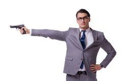 有在白色隔绝的手枪的积极的业务经理 免版税库存照片