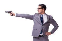 有在白色隔绝的手枪的积极的业务经理 库存图片