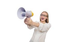 有在白色隔绝的扩音器的妇女 库存照片