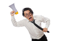 有在白色隔绝的扩音器的恼怒的人 免版税图库摄影