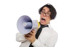 有在白色隔绝的扩音器的恼怒的人 免版税库存照片