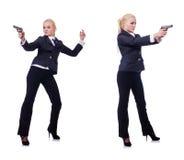 有在白色隔绝的枪的妇女 免版税图库摄影