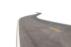 有在白色隔绝的白色和黄线的黑柏油路 免版税库存照片