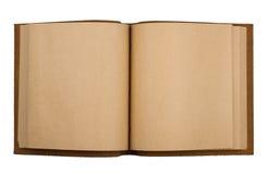 有在白色隔绝的皮革盖子的开放笔记本 库存图片