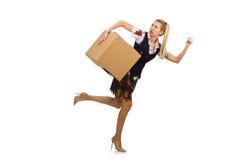 有在白色隔绝的纸板箱的妇女 库存照片