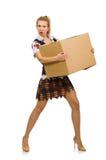 有在白色隔绝的纸板箱的妇女 免版税库存照片