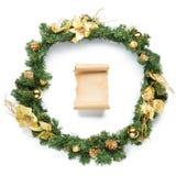 有在白色隔绝的羊皮纸的圣诞节诗歌选 图库摄影