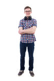 有在白色隔绝的耳机的英俊的十几岁的男孩 免版税库存照片