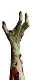 有在白色隔绝的肮脏的手指的可怕蛇神手 库存图片