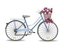 有在白色隔绝的花的自行车 免版税库存照片