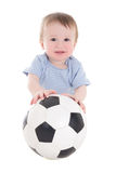 有在白色隔绝的足球的滑稽的男婴小孩 免版税库存照片