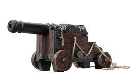 有在白色隔绝的轮子的古老大炮 库存图片