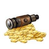 有在白色隔绝的金黄硬币的望远镜 库存照片