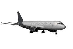 有在白色隔绝的黑暗的起落架的飞机 免版税库存照片