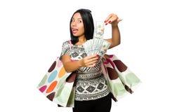 有在白色隔绝的购物袋的妇女 库存图片