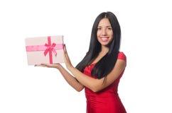 有在白色隔绝的giftboxes的妇女 图库摄影