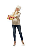 有在白色隔绝的giftboxes的妇女 免版税图库摄影