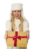 有在白色隔绝的giftboxes的妇女 库存照片