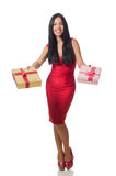 有在白色隔绝的giftboxes的妇女 免版税库存图片