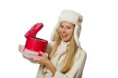 有在白色隔绝的giftboxes的妇女 免版税库存照片