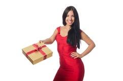 有在白色隔绝的giftboxes的妇女 库存图片