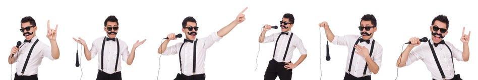 有在白色隔绝的mic的滑稽的人 库存照片