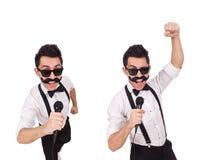 有在白色隔绝的mic的滑稽的人 免版税图库摄影