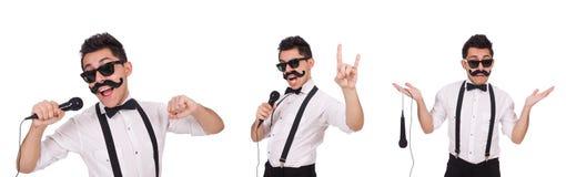有在白色隔绝的mic的滑稽的人 图库摄影