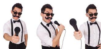 有在白色隔绝的mic的滑稽的人 免版税库存图片