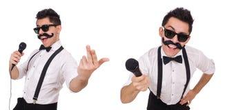 有在白色隔绝的mic的滑稽的人 库存图片