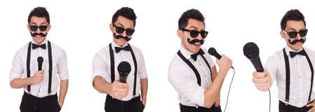 有在白色隔绝的mic的滑稽的人 免版税库存照片