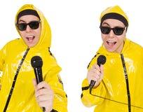 有在白色隔绝的mic的滑稽的执行者 免版税库存照片