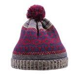 有在白色隔绝的pom pom的被编织的羊毛冬天帽子 免版税库存图片