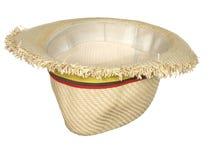 有在白色backgr隔绝的五颜六色的丝带的被倒置的草帽 库存图片