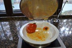 有在盘的胡椒粉原料 图库摄影
