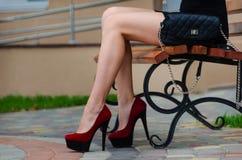 有在红色高h穿上鞋子的美好的苗条腿的时髦的女人 免版税库存图片