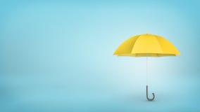 有在蓝色背景垂直安置的把柄的一把开放经典黄色伞 免版税库存图片