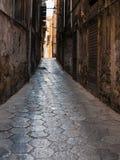 有在巴勒莫市的老狭窄的街道 免版税库存照片